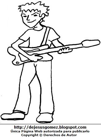 Joven músico tocando la guitarra para colorear, pintar e imprimir. Dibujo de joven hecho por Jesus Gómez