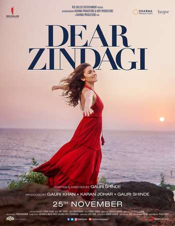 Poster Of Dear Zindagi 2016 Hindi 650MB BluRay 720p ESubs HEVC Watch Online Free Download downloadhub.in