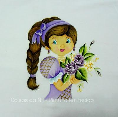 pintura boneca com trança e rosas lilases