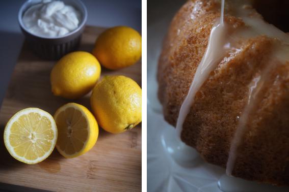 Limones y yogur, y detalle del bizcocho con el glaseado por encima