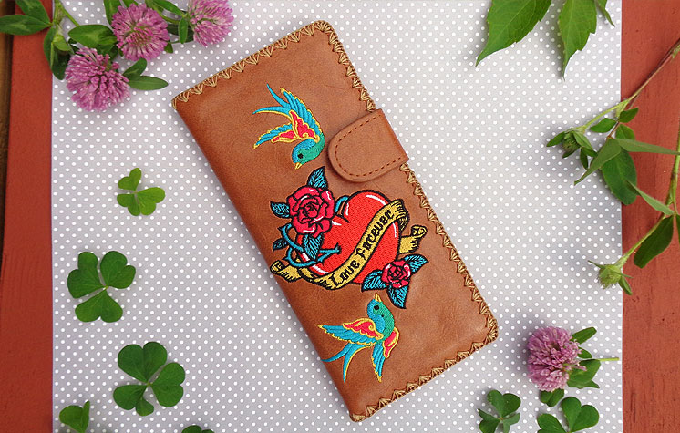 LAVISHY vegan leather flat wallet with tattoo style love swallow birds, heart and rose embroidery motifs