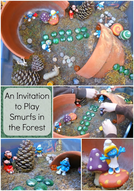 Small world play in the woods. The Smurfs are so fun in this fun invitation to play.