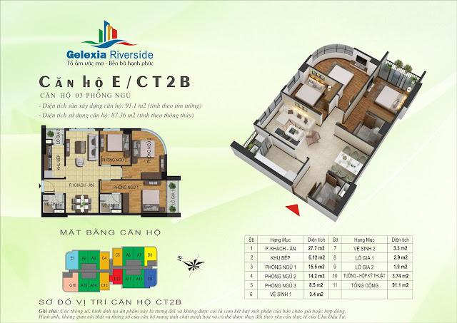 Mặt bằng căn hộ E - CT2B - CT3 chung cư Gelexia Riverside