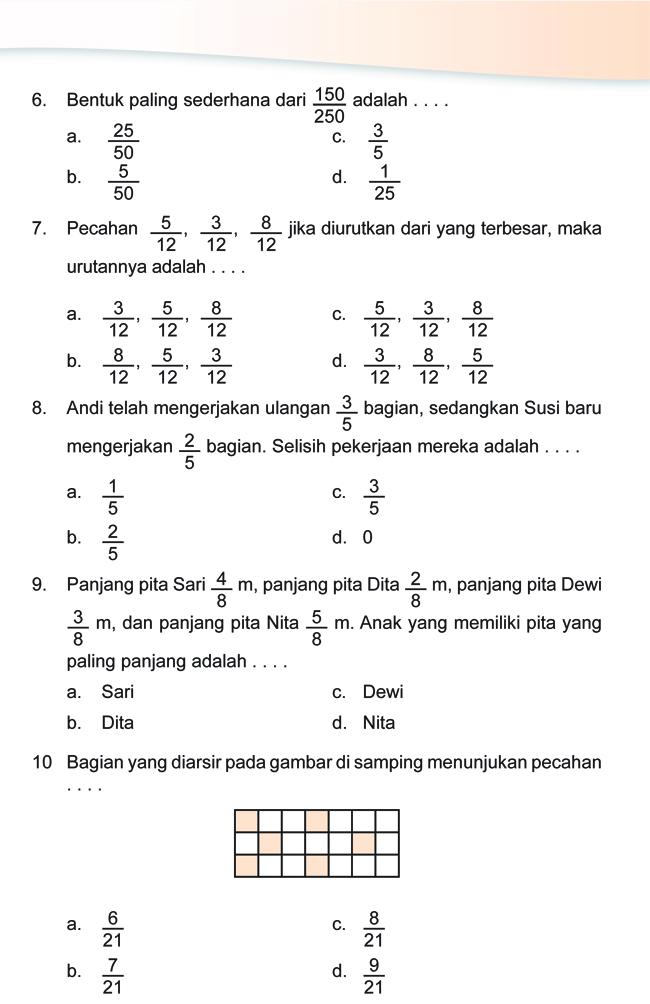 Kumpulan Soal Matematika: Soal Ulangan Harian Matematika Kelas 4 SD quot;Bilangan Pecahanquot;