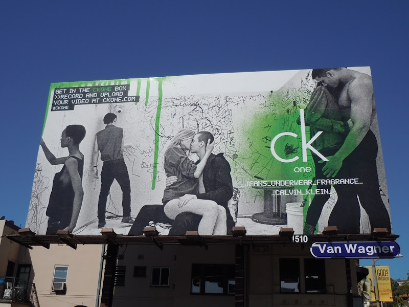 CK One Box kissing billboard