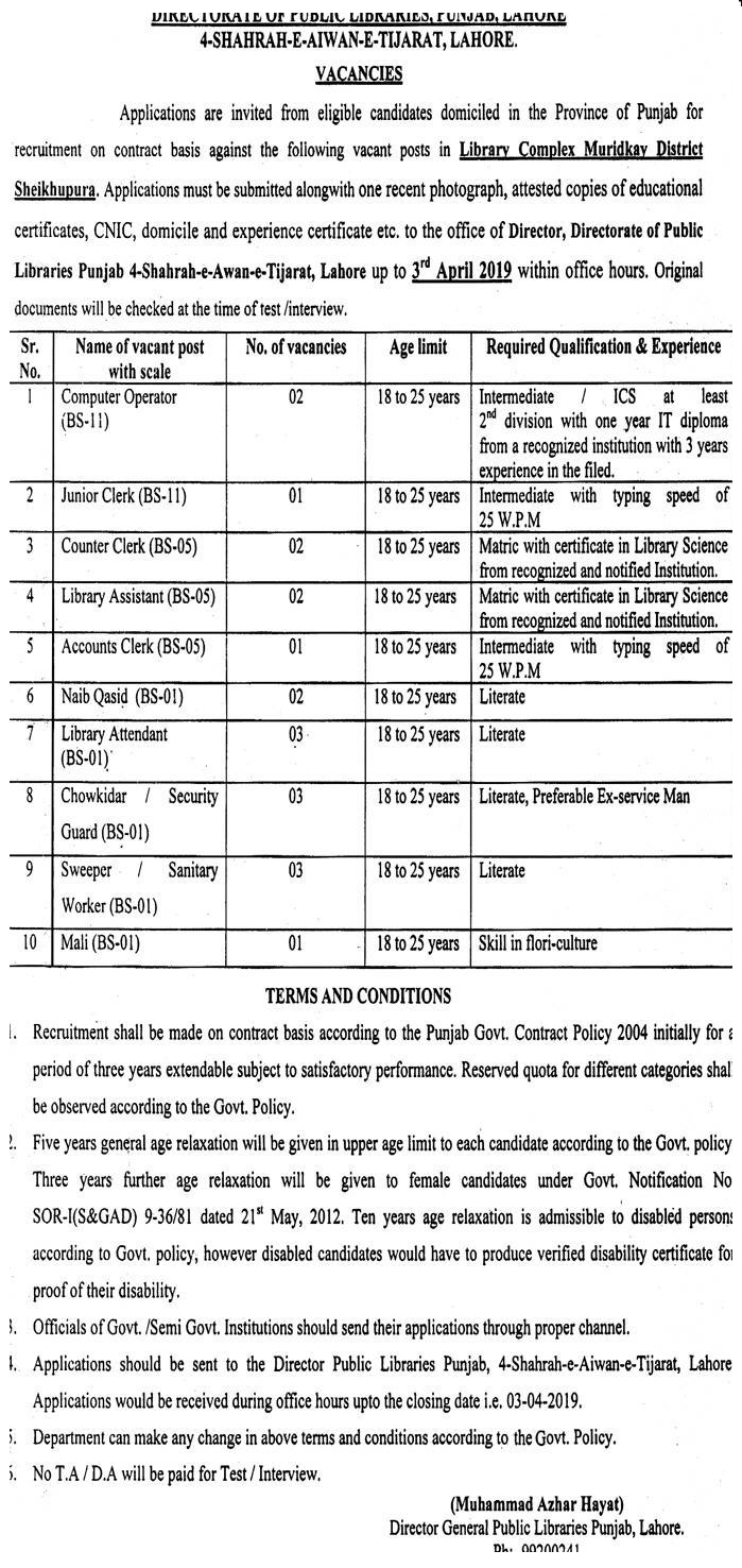 Punjab Public Library New Jobs In Pakistan 2019