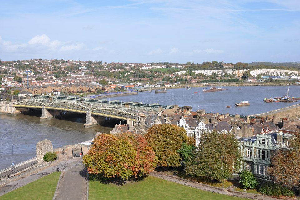 The bridge and River Medway, Rochester, Kent, UK