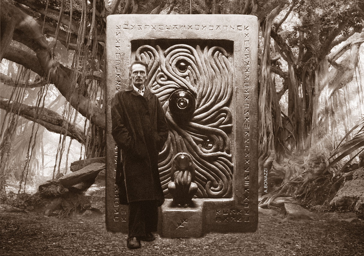 Clark Ashton Smith, montage and sculpture by Andrea Bonazzi