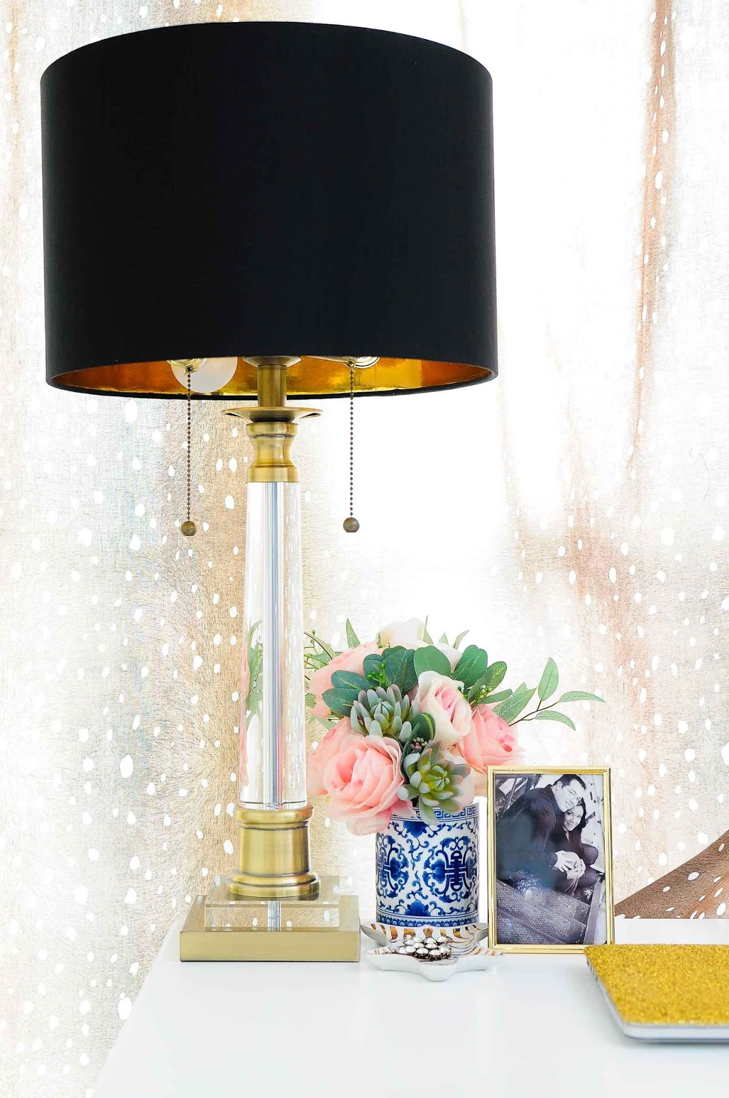 Stephan Crystal table lamp with black and gold lampshade