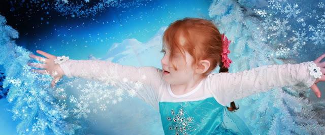 Girl dressed as Elsa from Frozen