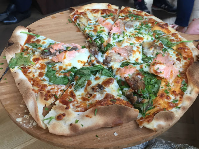 A seafood pizza