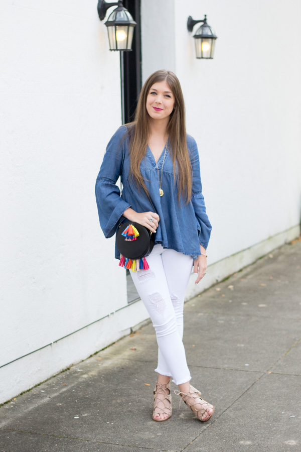 Denim & Bell Sleeves Top by Charleston fashion blogger Kelsey of Chasing Cinderella