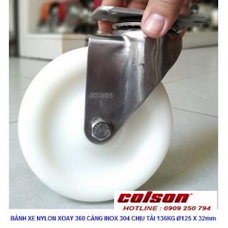 Bánh xe xoay 360 Nylon càng inox 304 Colson Mỹ 5 inch| 2-5456-254 www.banhxedayhang.net
