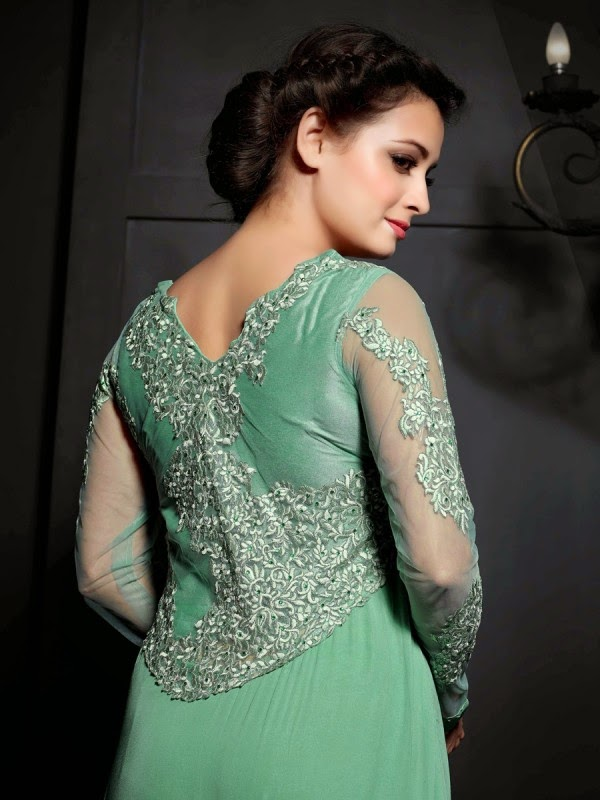 Model Dia Mirza Photo shoot Stills In Green Dress