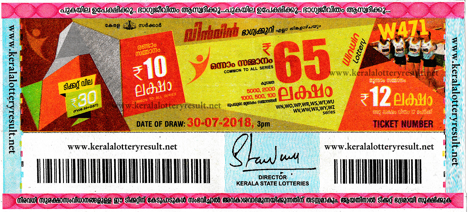 Kerala Lottery Results Today 30.07.2018 Win Win W.471 Lottery Result