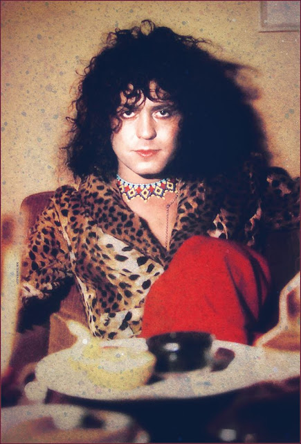 Marc Bolan rides his white swan for the last time.