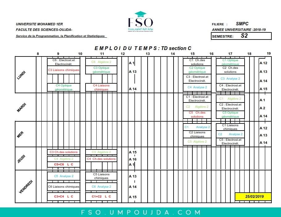 Emplois du Temps des TDs SMPC S2 Section C - Session Printemps 2018/2019