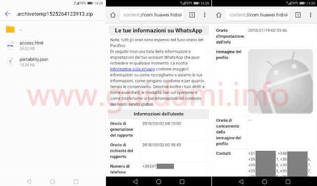 WhatsApp lista Informazioni dell'account da rapporto