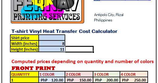 FerNav Vinyl Printing Cost Calculator