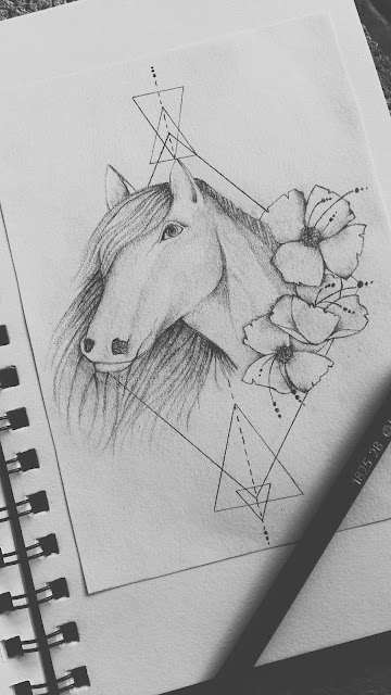 geometrical horse tattoo design, horse tattoo, horse drawing