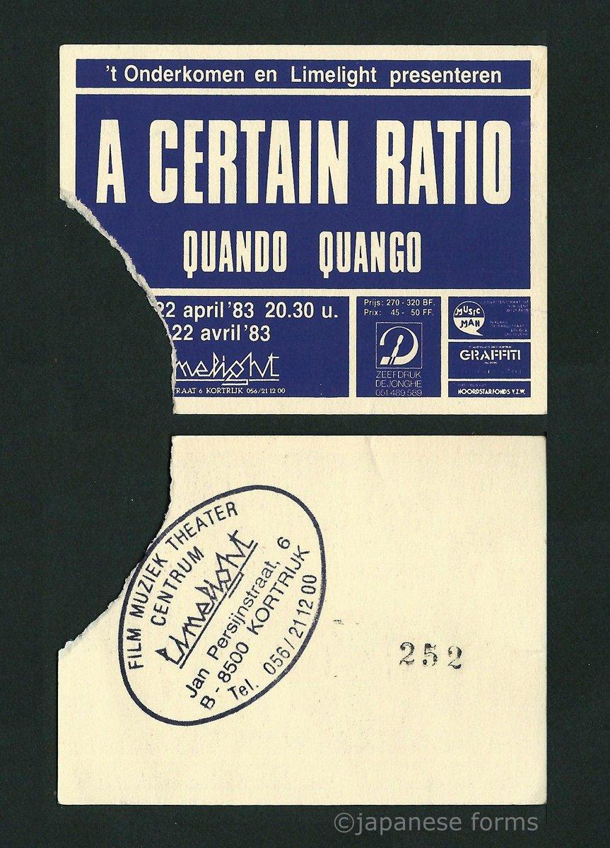 22 April 1983, Limelight (Film Muziek Theater Centrum), Kortrijk, Belgium - ACR Gigography