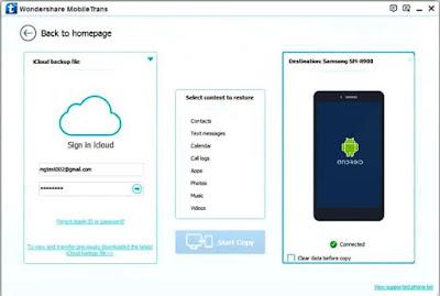 Wondershare MobileTrans Alternatif iCloud Untuk Android