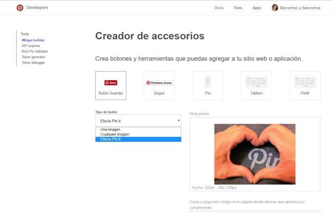 Hay distintos botones pin it que puedes incorporar a tu blog