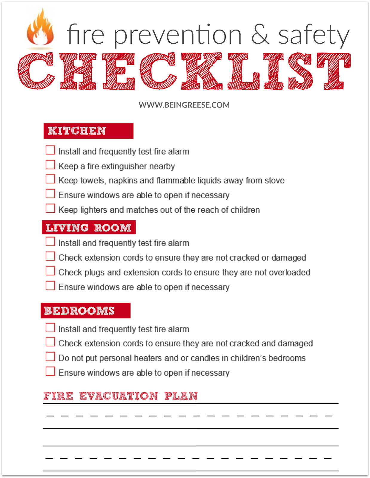 Fire plan checklist
