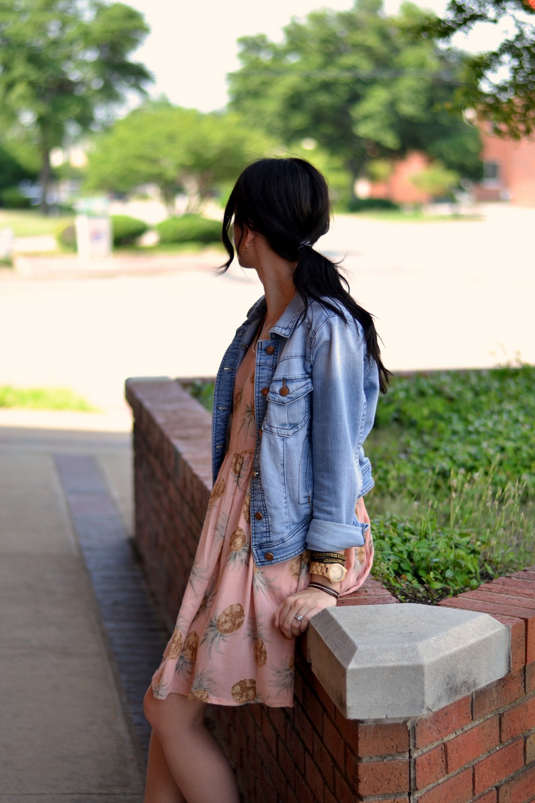 Pineapple Dress with cropped jean jacket