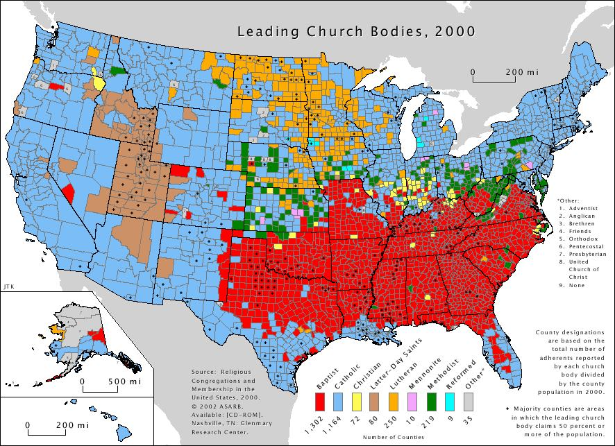 Continuing Counter Reformation Religious Maps Canada USA - Map of canada and usa
