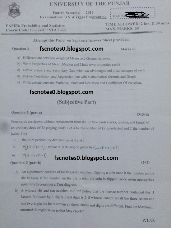 BS (Hons) IT Information Technology Past Papers Semester 4 Probability & Statistics 2013 Asad Hussain