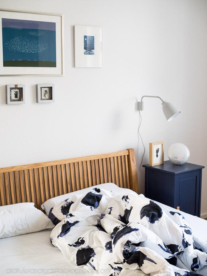 vaalea makuuhuone, rauhallinen makuuhuone, makuuhuoneen sisustus