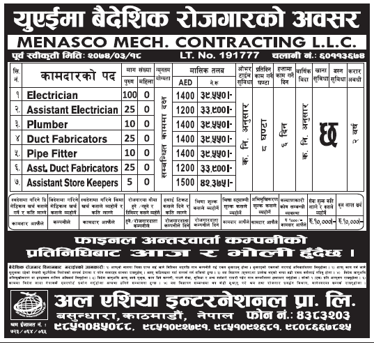Jobs in UAE for Nepali, Salary Rs 42,375