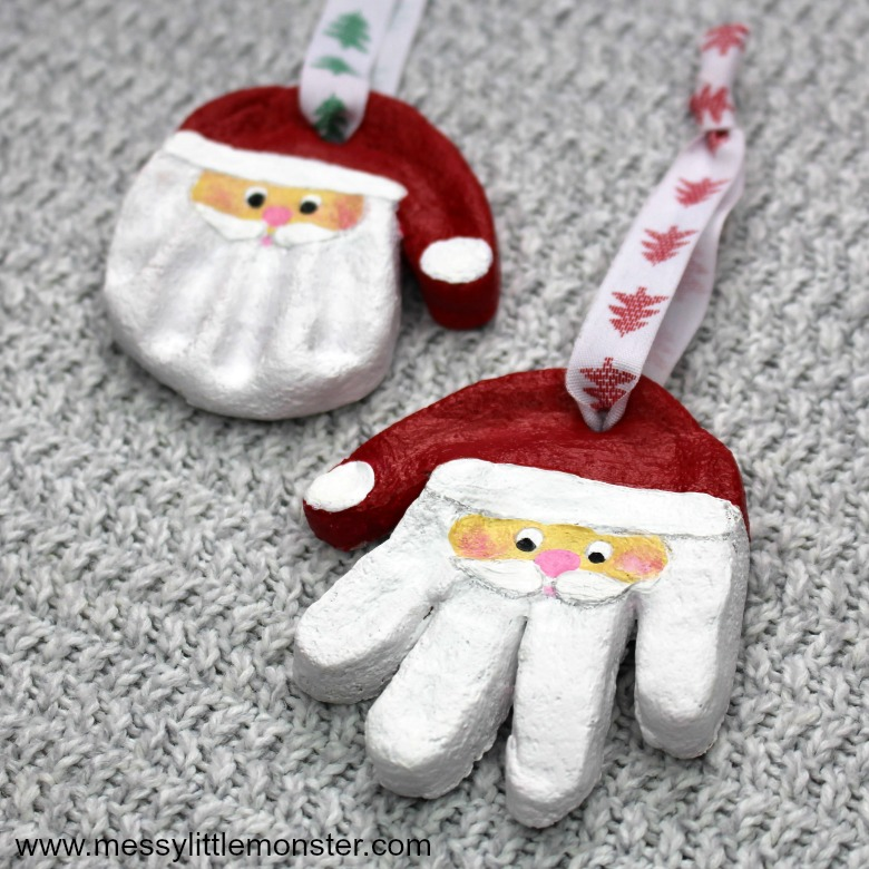 Father Christmas salt dough handprint ornament craft