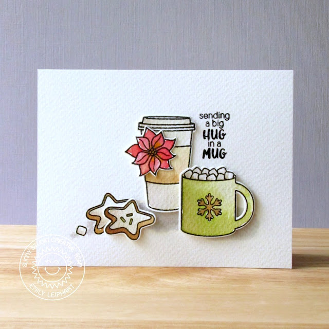 Sunny Studio Stamps: Mug Hugs & Christmas Icons Hot Cocoa & Coffee Card by Emily Leiphart.