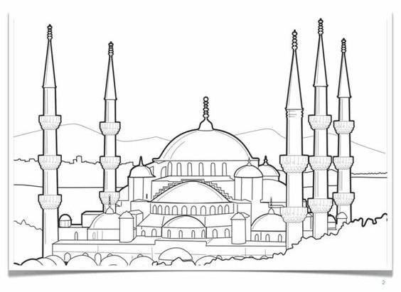 Mewarnai Gambar Masjid | Education | Pinterest