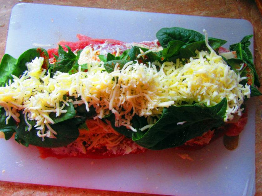 Italian style stuffed pork tenderloin by Laka kuharica: add mozzarella on top.
