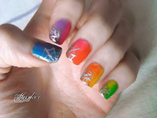 Rainbow gradient spiderweb nail art