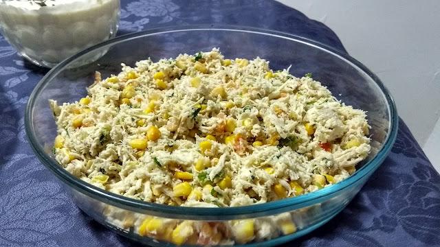 Torta cremosa de liquidificador: recheio de frango