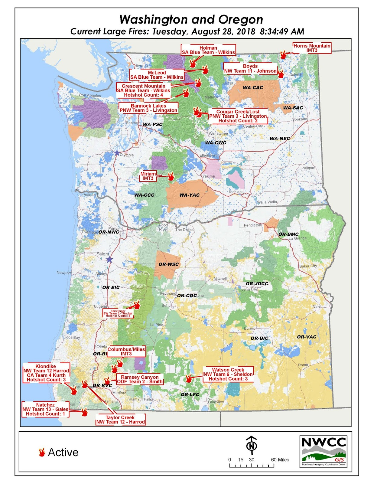 latest map of or wa large fires for an interactive map visit https gacc nifc gov nwcc there are over 8000 firefighters working on 17 large fires