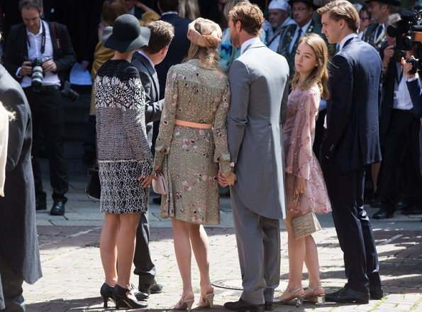 Charlotte Casiraghi wore a Macramé lace-paneled silk coat by Giambattista Valli at the wedding ceremony. Beatrice Borromeo