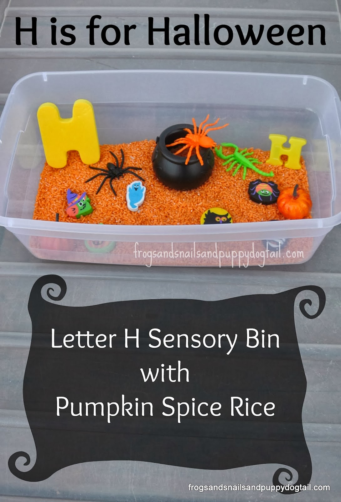 halloween sensory bin and learning letter h teach mama. Black Bedroom Furniture Sets. Home Design Ideas