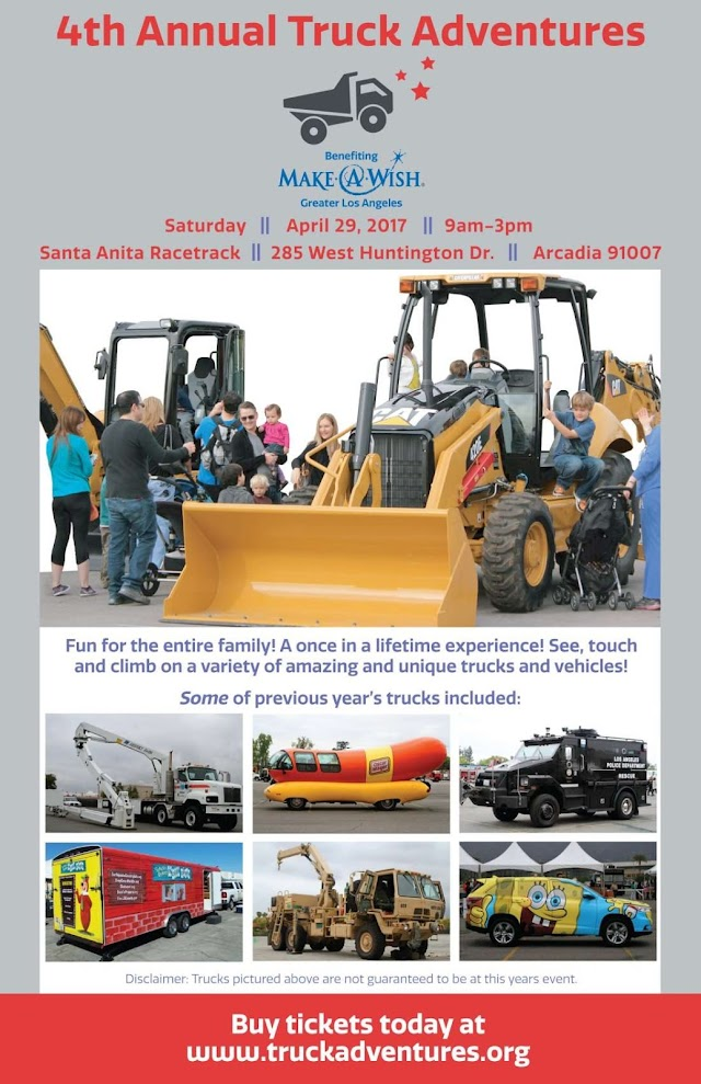 EVENT: 4th Annual 'Truck Adventures' for Kids benefiting Make-A-Wish Foundation 4/29/17