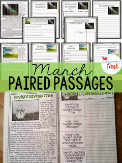 Paired passages texts for the month of March- activities to practice comprehension, writing, and reading