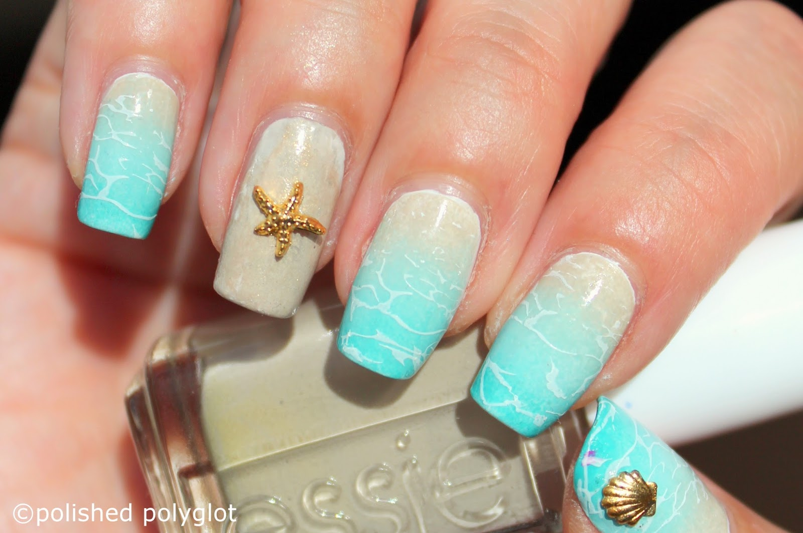 Nail art beach nails polished polyglot finally i added some golden charms with sea theme on my thumb and my ring finger nails prinsesfo Image collections