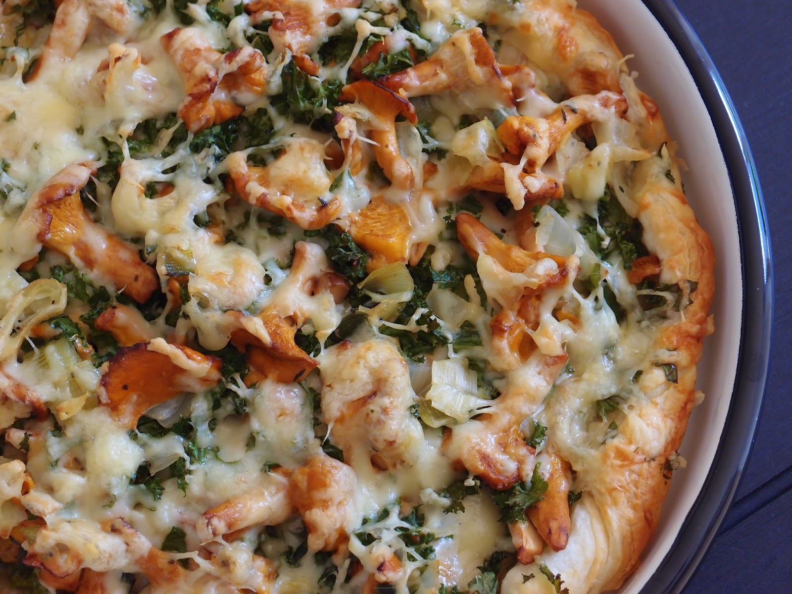 Chanterelle Mushroom and Kale Pizza