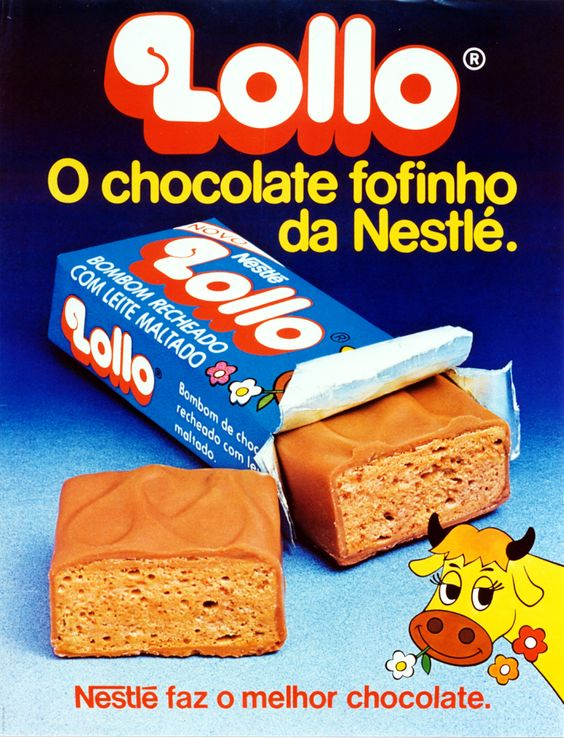 Propaganda antiga do Chocolate Lollo em seu lançamento no começo dos anos 80