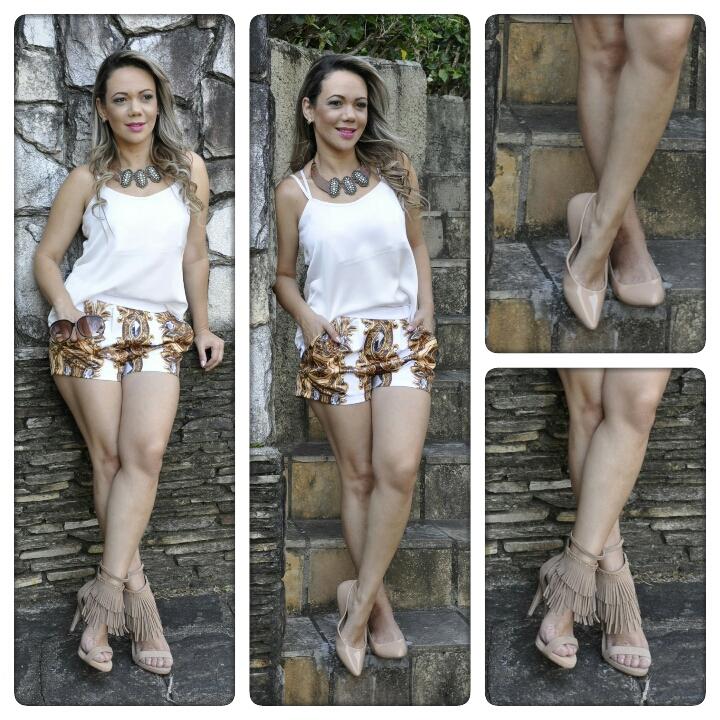 MODA – Look total Carmen Steffens com shortinho estampado e calçado nude 99905b569c