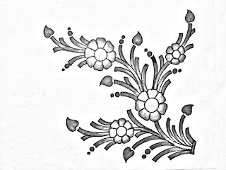How to draw flower design for hand embroidery saree design