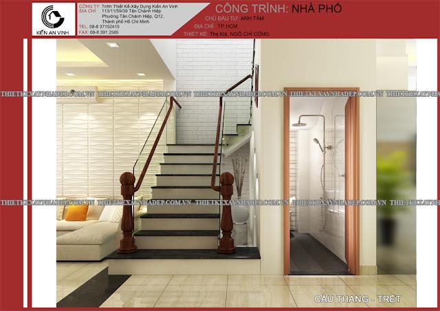 Mẫu thiết kế đẹp 2 tầng bán cổ điển mặt tiền 5m tại Long An Cau-thang-tret